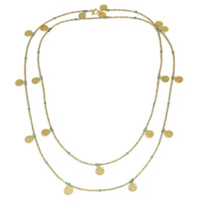 Gold plated chalcedony waterfall necklace, 'Golden Rain' - Thai 24k Gold Plated Brass Green Chalcedony Long Necklace