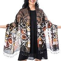 Silk batik shawl, 'Psychedelic Tic-Tac-Toe' - Dark Brown Silk Batik Shawl with Orange and Yellow