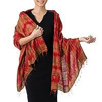 Silk shawl, 'Orange Dance'