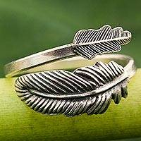 Sterling silver wrap ring, 'The Feather' - Hand Made Sterling Silver Wrap Ring Feather from Thailand