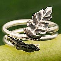 Sterling silver wrap ring, 'The Leaf' - Hand Made Sterling Silver Wrap Ring Leaf from Thailand