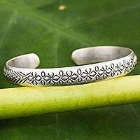 Sterling silver cuff bracelet, 'Find Peace'
