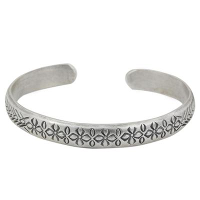 Sterling silver cuff bracelet, 'Find Peace' - Floral Sterling Silver Peace Bracelet from Thailand
