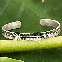Sterling silver cuff bracelet, 'Hill Tribe Song of Peace' - Silver Peace Bracelet by Karen Hill Tribe Artisans