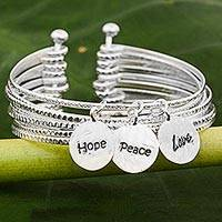 Sterling silver cuff bracelet, 'Hope, Peace and Love'