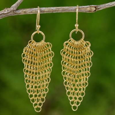 d4ef44775e820 Lotus Chain Mail Earrings Handmade in 18k Gold Plate, 'Chain Mail Lotus'