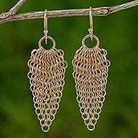 Rose gold plated dangle earrings, 'Chain Mail Lotus' - Rose Lotus Chain Mail Earrings Handmade in 18k Gold Plate