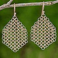 Rose gold plated dangle earrings, 'Chain Mail Honeycomb' - Rose Gold 925 Silver Chain Mail Style Honeycomb Earrings