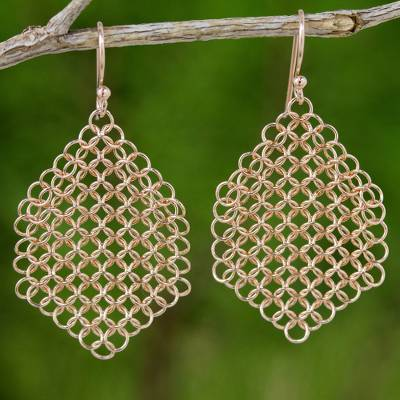 Rose gold plated dangle earrings, Chain Mail Honeycomb