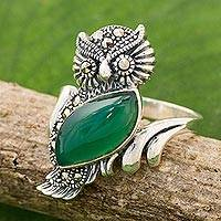 Chalcedony and marcasite cocktail ring, 'Stunning Owl' - Chalcedony and Marcasite Cocktail Ring with Owl Motif