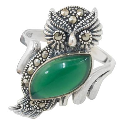 Chalcedony and Marcasite Cocktail Ring with Owl Motif