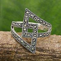 Marcasite band ring, 'Glistening Love' - Handmade Thai Marcasite and Sterling Silver Band Ring
