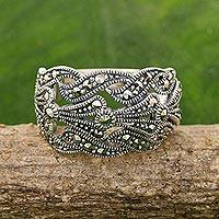 Marcasite band ring, 'Whispering Love'