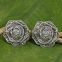 Marcasite button earrings, 'Elegant Rose' - Handmade Marcasite and Sterling Silver Rose Button Earrings