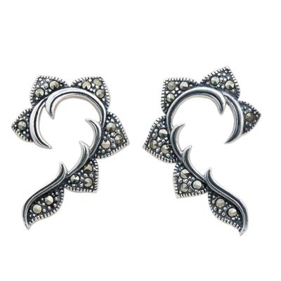 Marcasite button earrings, 'The Dearest' - Hand Crafted Marcasite and Sterling Silver Button Earrings