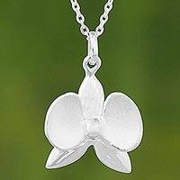 Sterling silver pendant necklace, 'Shimmering Orchid' - Thai Silver Orchid Pendant on Silver Cable Chain Necklace