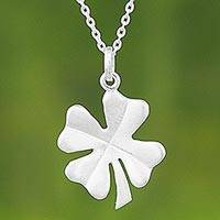 Sterling silver pendant necklace, 'Lucky Pendant' - Sterling Silver Pendant Necklace Clover from Thailand