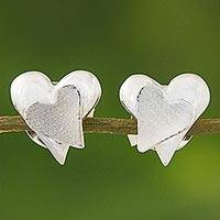 Sterling silver stud earrings, 'Dazzling Hearts' - Sterling Silver Heart Shaped Stud Earrings from Thailand