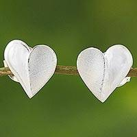 Sterling silver stud earrings, 'Shimmering Heart' - Sterling Silver Heart Stud Earrings from Thailand