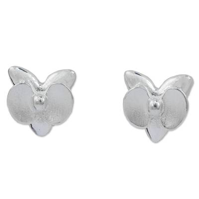 Sterling Silver Orchid Stud Earrings from Thailand