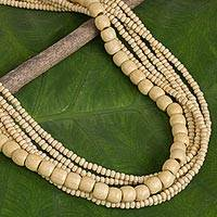 Wood beaded necklace, 'Hawaii Dance'