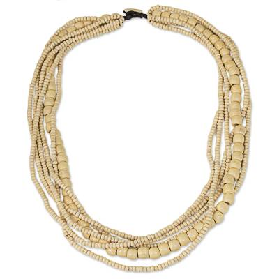 Wood beaded necklace, 'Hawaii Dance' - Natural Wood Beaded Necklace Hand-Crafted in Thailand