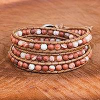 Jasper, silver and leather wrap bracelet, 'Cozy Brown' - Thai Jasper and Leather Cord Bracelet with Silver Clasp