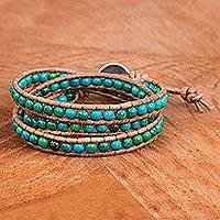 Serpentine and leather wrap bracelet, 'Cozy Blue'