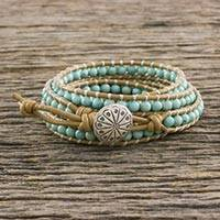 Serpentine wrap bracelet, 'Thai Mint'