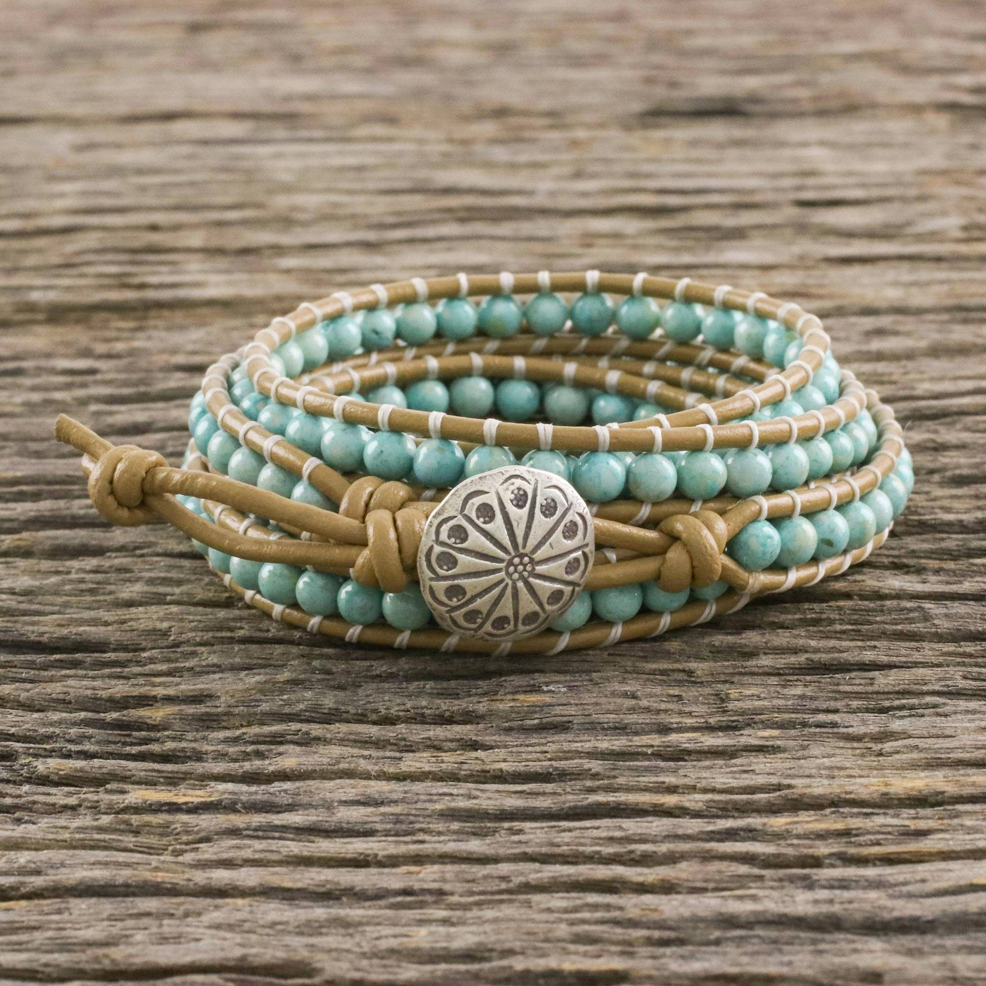 Aqua Serpentine Hand Knotted Wrap Bracelet from Thailand, 'Thai Mint'