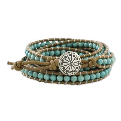 Serpentine wrap bracelet, 'Thai Mint' - Aqua Serpentine Hand Knotted Wrap Bracelet from Thailand