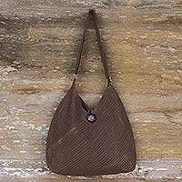 Cotton shoulder bag, 'Let's Go' - Bohemian Brown Shoulder Bag with Coin Purse