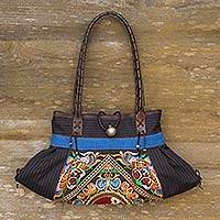 Leather accent cotton shoulder bag, 'Blue Yin-Yang' - Artisan Crafted Thai Cotton Shoulder Bag with Embroidery