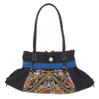 Artisan Crafted Thai Cotton Shoulder Bag with Embroidery