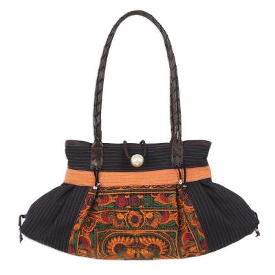 Novica Cotton shoulder bag, Night Colors - Embroidered Cotton Shoulder Bag