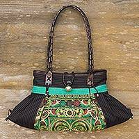 Leather accented cotton shoulder bag, 'Green Phoenix' - Colorful Embroidered Cotton Shoulder Bag from Thailand