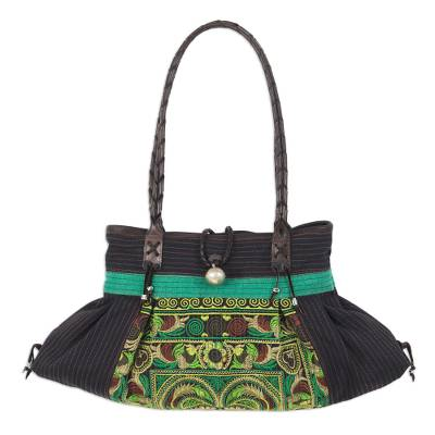 Colorful Embroidered Cotton Shoulder Bag from Thailand