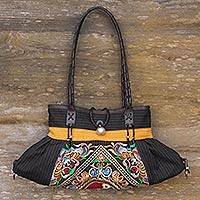 Leather accented cotton shoulder bag, 'Yellow Yin-Yang' - Colorful Artisan Crafted Embroidered Cotton Shoulder Bag