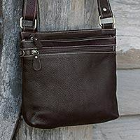 Leather shoulder bag, 'Ready Espresso' - Thai Handcrafted Brown Leather Shoulder Bag with 6 Pockets