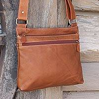 Leather shoulder bag, 'Ready Russet' - Handcrafted Thai Russet Brown Leather Shoulder Bag