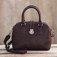 Leather shoulder bag, 'Chic and Trim' - Thai Brown Leather Handcrafted Handbag & Shoulder Strap