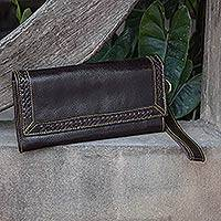 Leather wristlet handbag, 'Espresso Lacings' - Dark Brown Leather Wristlet Handcrafted in Thailand
