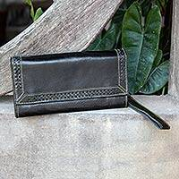 Leather wristlet clutch handbag, 'Ebony Lacings' - Black Leather Wristlet Handcrafted in Thailand