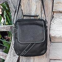 Leather shoulder bag, 'Voyager in Black' - Fair Trade Thai Black Leather Handcrafted Shoulder Bag
