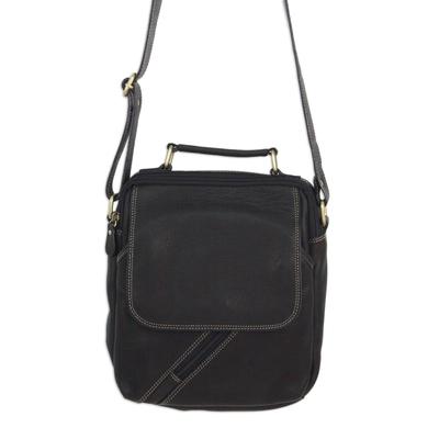 Fair Trade Thai Black Leather Handcrafted Shoulder Bag