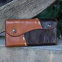 Dark brown leather wallet, 'Cool Chiang Mai' - Dark Brown Leather Wallet with Snap Closure