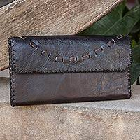 Leather clutch handbag, 'Chic Brown Efficiency' - Dark Brown Leather Wallet Handcrafted in Thailand