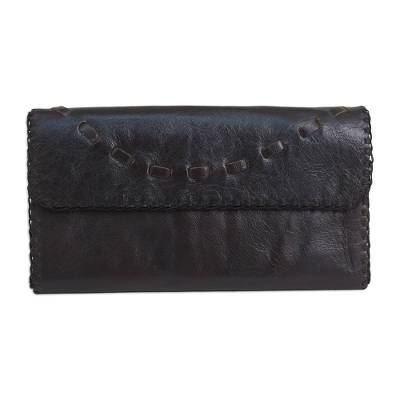 Dark Brown Leather Wallet Handcrafted in Thailand