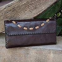 Leather clutch handbag, 'Chic Efficiency' - Thai Handcrafted Leather Wallet in Browns