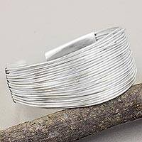 Sterling silver cuff bracelet, 'Together in Unity' - Modern Thai Hill Tribe Bracelet in Sterling Silver